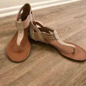 Beige sparkly sandals